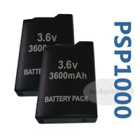 2X 3600mAh Rechargeable Replacement Battery Pack For Sony PSP 1000 1001 Black