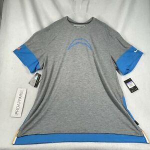 Nike LA Los Angeles Chargers Mens Gray/Blue Nike NFL T Shirt 3XL $65