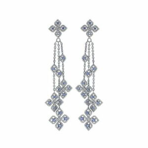 Pave Diamond Chandelier Earring 925 Sterling Silver 14k Gold Jewelry SA