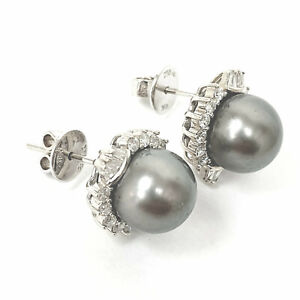 Diamond Pearl Earrings Saltwater Cultured Studs 18ct White Gold Baguette Round