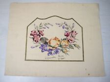 Vintage Hand Painted Painting of Beautiful Detailed Fine Flowers by 5 Grader
