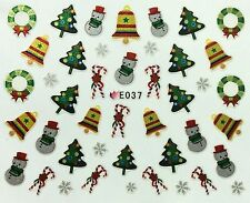 Christmas Nail Art Stickers Decals Snowflakes Santa Candy Cane Trees Snowman E37