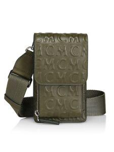Authentic MCM Embossed logo green adjustable crossbody phone case holder