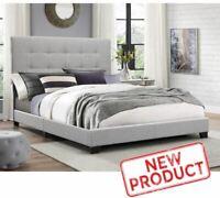 King Size Platform Bed Frame Upholstered Headboard Tufted Beds Wood Frame Gray
