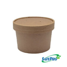 SafePro Eco SB50 8 Oz. Recyclable Kraft Paper Soup Cup with Vented Paper Lid Com