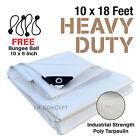 Premium Heavy Duty Canopy Tarp Poly Tarpaulin Reinforced Tent Car Boat 10 x 18