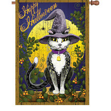 """Happy Halloween Cat Spider Moon House Flag Large 40"""" x 28"""""""
