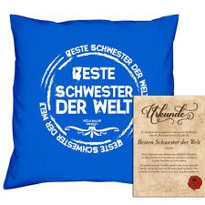 Beste Schwester Geschenk-Set: Kissen & Füllung & Urkunde  Farbe:royal-blau