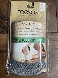 New TOESOX Women's ANKLE Half Toe Grip Toe Socks (HEATHER GRAY) Medium