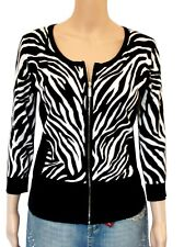 Carmen Printed Cardigan Full Zip Sweater Black & White Zebra Print Small NWT $78