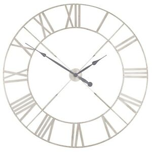 Extra Large 110cm Vintage Cream Metal Roman Numeral Wall Clock Limited Qty