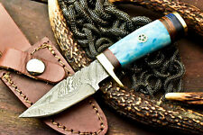 Custom Handmade Damascus Steel Blade Hunting Miniature Knife| Stained Camel Bone
