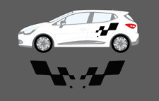 Renault Clio Mk4 3dr 5dr 2012- Cup Flag Style Side Stripe Graphics Decal Set 197