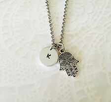 Hamsa Hand Personalized Initial Hand Stamped Necklace