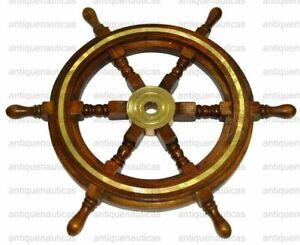 Wooden Ship Wheel 18 Inch Brass Nautical Collectible Wall Hanging Decor Vintage