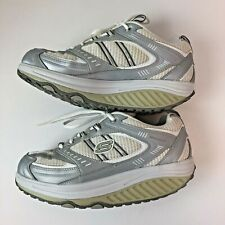 Skechers Shape Ups Women's Size 9 Silver and White Comfort Tennis Shoe Workout