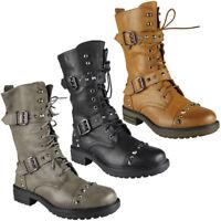 Womens Ladies Buckle Stud Zip Low Heel Army Work Biker Ankle Boots Shoes Size