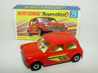 Matchbox Superfast No 29 Racing Mini Orange, Orange Outline VNMIB RARE