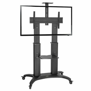 """Premium Mobile TV Stand AVF1800-70-1PB Height-adjustable 60""""-80"""" screens to 56kg"""