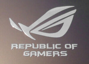 Asus Republic of Gamers Silver Chrome Sticker 28 x 32mm ROG