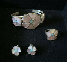 ZUNI Native American Pink Mother of Pearl Set