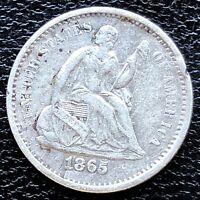 1865 S Seated Liberty Half Dime 5c High Grade XF Det. RARE #18705