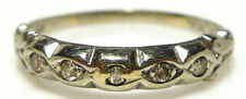 ANTIQUE ART DECO 14K WHITE GOLD ROUND DIAMOND STACKABLE STACKING RING BAND SIZE5