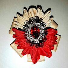 Vintage Antik Gold /& Rubin Rot Strass Blume Geformt Brosche Br136