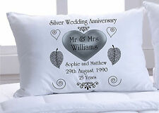Pair of Silver Wedding Anniversary pillowcases fully personalised