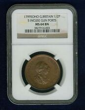 ENGLAND GEORGE III 1799-SOHO HALF-PENNY, UNCIRCULATED, CERTIFIED NGC MS64-BN
