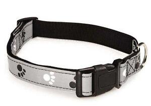 Reflective Pawprint Dog Collar Dog Collars Casual Canine Nylon Paw Print