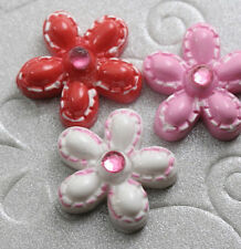 "US SELLER - 18pc x 5/8"" Resin Flower Flatback Beads w/Gems for Cards/Bows SB127A"