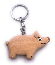 Schwein Hell Bauernhof Tier Holz Edel Handmade Schlüsselanhänger Anhänger