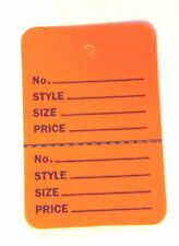100 ORANGE Small (1.1/4 x1.7/8) Perforated Unstrung Consignment Price Tags