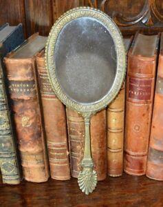 Antique French Bronze Hand Mirror Vanity Mirror Shell Motif