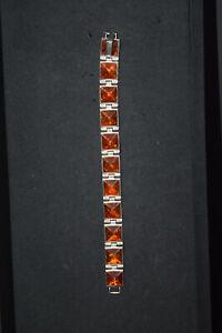 Handmade 925 Sterling Bracelet w/11 Baltic Amber Inserts from Odessa, Ukraine