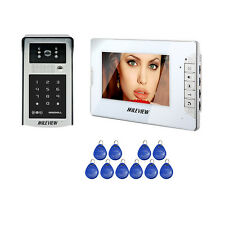 "7"" Video Intercom Door Phone System Metal Waterproof RFID Code Keypad Doorbell"