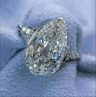 3Ct Pear-Cut Brilliant Diamond Solitaire Engagement Ring 14K White Gold Finish