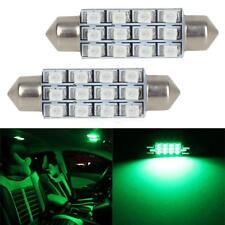 2x Green 42mm 41mm Festoon LED Bulbs Light Interior Dome Map 578 12V
