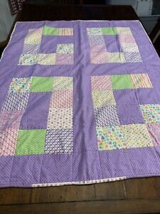 """Handmade Patchwork Quilt Blanket Throw Purple Pink Double Sided 40 x 50"""" AS-IS"""
