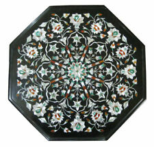 "15""x15"" Black Marble Inlay Pietra Dura Table Top Handicraft"