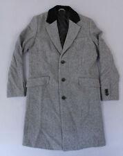 ASOS Men's Wool Mix Overcoat with Velvet Collar MC7 Gray Herringbone Size XS