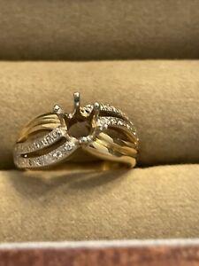 Ladies 14K Yellow & White Gold Semi Mount with 26 Brilliant Diamonds
