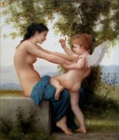 Bouguereau Girl Defending Herself Repro, Quality Oil Painting 20x24in