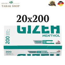 20 x 200(4000) Gizeh Menthol Hülsen Filterhülsen Zigarettenhülsen