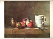 1960 Art Print Still Life Apples Pears & White Mug by Chardin French Free Ship
