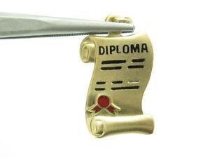 14k Yellow Gold 3D Diploma Design Vintage Charm Pendant Gift