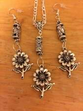 stainless chain/tibetan silver/flower charms/spacers/ earrings/pendant