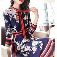 Fashion Womens A-line Dress Slim Floral Print Long Sleeve Lace Up Tie Dresses