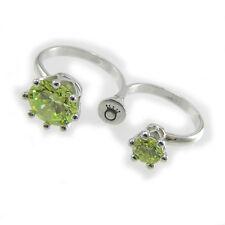 LE CORONE anello doppio dito Twins zirconi verdi montatura argento 925